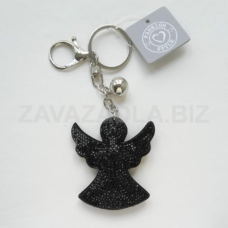 přívěsek na tašku, batoh, klíče - strážný anděl s FLITRY - ČERNÁ